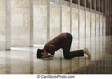 el suyo, dios, musulmán, asiático, religioso, adoración, hombre