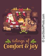 el suyo, duro, cansado, claus, duende, saludo, sueño, day., reno, santa, año, nuevo, chimenea, tarjeta de navidad, después