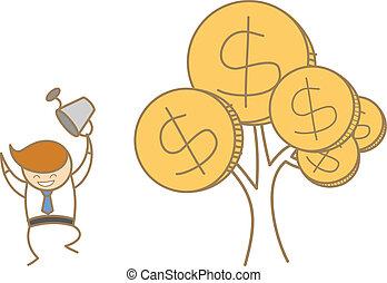 el suyo, empresa / negocio, carácter, árbol, dinero, feliz, caricatura, hombre