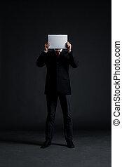 el suyo, encima, cara, papel, blanco, hombre de negocios