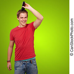 el suyo, encima, joven, pelo, corte, verde, Plano de fondo, retrato, hombre