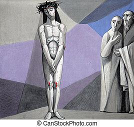 el suyo, estaciones, pelado, jesús, prendas, cruz, 10