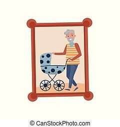 el suyo, familia , nieto, de madera, marco de la foto, ...