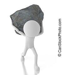 el suyo, grande, back., persona, proceso de llevar, roca, 3d