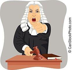 el suyo, gritar, señalar, enojado, golpeteo, juez, alguien, ...
