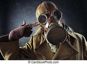 el suyo,  Grunge, Señalar, máscara,  gas, arma de fuego, mano, suicidio, poseer, retrato, cabeza, hombre
