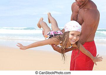 el suyo, hija, alrededor, vuelo, playa, hombre