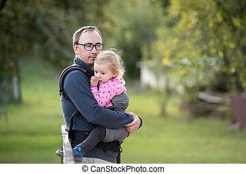 el suyo, hija, nature., padre, verde, bebé, carrier.