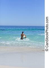 el suyo, hombre, playa, corriente, tabla de surf