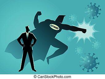 el suyo, hombre, virus, anticuerpo, lucha