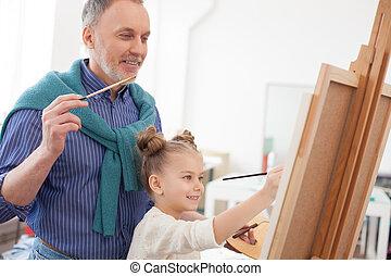 el suyo, imagen, nieto, 3º edad, dibujo, hombre