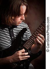 el suyo, juegos, eléctrico, músico, joven, guitarra