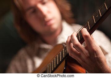 el suyo, juegos, músico, joven, guitarra, acústico