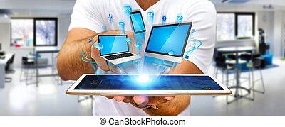el suyo, mano, tecnología, tenencia, dispositivo, hombre de...