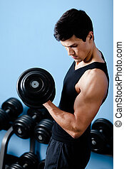 el suyo, muscular, usos, deportista, dumbbell, guapo