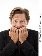 el suyo, oficinista, preocupado, uñas, mascar, expresión