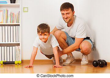el suyo, padre, hijo, porción, press-ups, hogar, niño