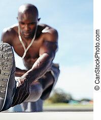 el suyo, pierna, atleta, extensión, músculos, macho