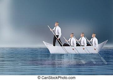 el suyo, plomo, remar, papel, líder del equipo, barco