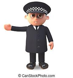 el suyo, policía, ilustración, uniforme, brazo, derecho, ...