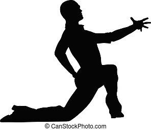 el suyo, postura baile, bailarín, rodilla, macho