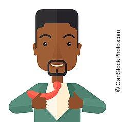 el suyo, trabajando, clothes., hombre africano, cambio,...