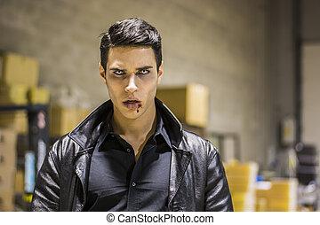 el suyo, vampiro, joven, boca, sangre, cara, hombre