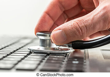 el suyo, verificar, computadora de computadora portátil, salud, hombre