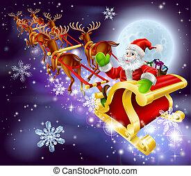 el suyo, vuelo, trineo, navidad, santa, sleigh, o