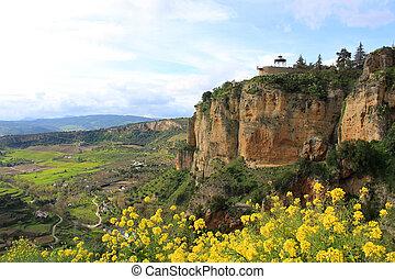 View of valley and cliffs of El Tajo in Ronda, Spain