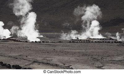 El tatio geyser in Chile, Atacama desert - Nobody in el...
