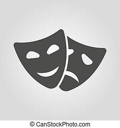 el, teatro, y, máscara, icon., drama, comedia, tragedia, símbolo., plano