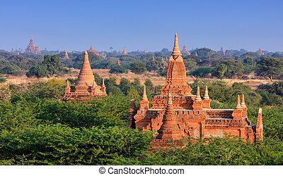 el, templos, de, bagan, en, ocaso, bagan, myanmar