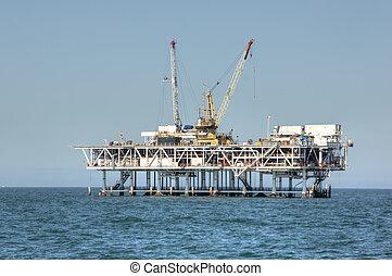 el, tengerpart, olaj berendezés
