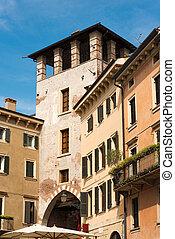 el, torre, de, ponte pietra, -, verona, italia