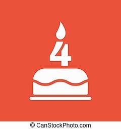 el, torta de cumpleaños, con, velas, en, el, forma, de, número 4, icon., cumpleaños, símbolo., plano