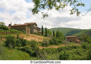 el, toscano, colinas, italia