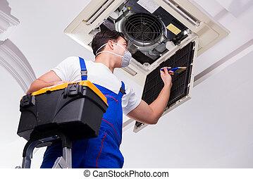 el, trabajador, reparación, techo, aire acondicionado, unidad