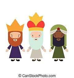 el, tres wisemen, caricatura, diseño
