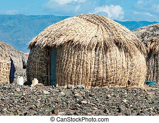 el, turkana, molo, lago, cabanas, kenya