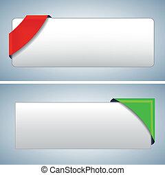 el, vector, coloreado, esquina, cinta, conjunto