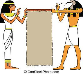 el, vector, conjunto, de, dios egipcio