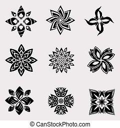 el, vector, conjunto, de, heráldico, decoración, flores