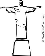 el, vector, iesus, cristo, río de janeiro, estatua, silueta