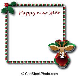 el, vector, navidad y año nuevo, bandera