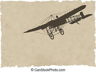 el, vector, viejo, avión, silueta, en, viejo, papel
