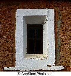 el, ventana, de, un, viejo, church.