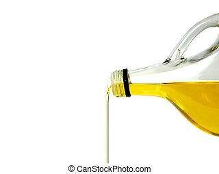 el verter, aceite de oliva, botella