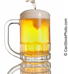 el verter, cerveza, lleno, jarra