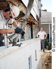 el verter, concreto, styrofoam, fundación